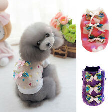 Nice Cute Pet Dog Cat Bow Sweater Pullover Puppy Winter New Fleece Coat Clothes