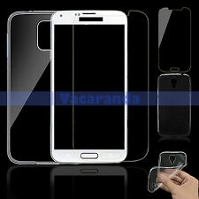 Tempered Glass Screen Protector + Back Soft Gel Case For Samsung Galaxy S4 i9500