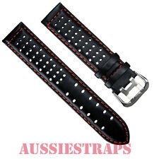 Leather Black Orange Stitch Rally Racing Tropic Perforated Watch Strap Band Mens