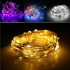 Starry 2M/4M Battery Operated Micro Copper Fairy LED Lights Hanging Steady Bulbs