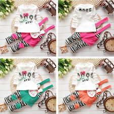 New 2pcs Cute Baby Girls Kids Girls Tops+Rompers Set Outfits Rabbit Clothing Set