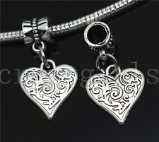 6/30/100pcs Tibetan Silver heart Bulk Dangle European Jewelry Charms Bracelet
