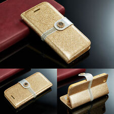 Luxury PU Leather Magnetic Flip Stand Bling Wallet Cover Case For Apple iPhone