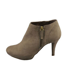 Bonnibel Madee 2 Taupe Women's Almond Toe Side Zipper Ankle Booties