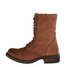 Steve Madden TROOPA 2-0 Cognac Women's Leather Lace Up Combat Boots