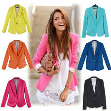 Fashion!Womens Long Sleeve One Button Candy Color Blazer Casual Jacket Suit Coat