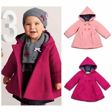 Toddler Kids Baby Girls Winter Trench Coat Hooded Long Outerwear Jacket Clothes