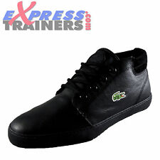 Lacost Mens Ampthill Classic Leather Hi Top Trainers Black *AUTHENTIC*