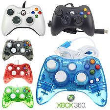 WIRED CONTROLLER FOR MICROSOFT XBOX 360 PC WINDOWS BLACK/ WHITE GLOW BLUE RED UK