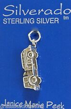 FIRE TRUCK 3D Jewelry Solid Sterling Silver Pendant - Charm w/ Options 1933