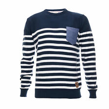 Men's Striped Crew Neck Cotton Jumper Chambray Pocket by Brave Soul RRP £19.99