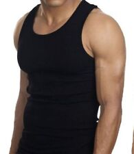 BLACK TANK TOPS MUSCLE SLEEVELESS MENS WIFE BEATERS 12 T-SHIRTS NEW