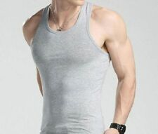 GREY TANK TOPS WIFE BEATERS MUSCLE 12 PACK MENS SLEEVELESS T-SHIRTS NEW