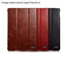 Real Genuine Cow Leather Smart Wake/Sleep Stand Case Cover for Apple iPad Mini 4