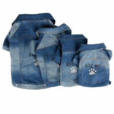Dog Denim Jacket Costume Velcro Coat Pet Easy On/OFF Paw Print Bite Me Clothes