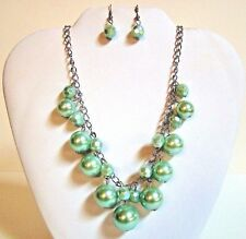 Chunky Bubble Bib Statement Silver Tone Necklace Earrings Set Fashion Jewelry