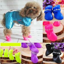 4PC Dog Antislip Rain Boots Protective Rubber Pet Puppy Waterproof Shoes Booties