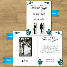 Double Sided & Folded Wedding Photo Thank You Cards Kissing Bride Groom 12 Cols