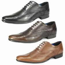 Mens Red Tape Lace Up Brogue Smart Casual Leather Shoes Tan Brown Black