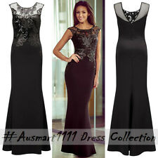 Formal Evening Party Long Gown Sleeveless Floral Lace Sequin Applique Maxi Dress