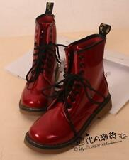 Womens Flats Heel Patent Leather Shoes Lace Up Ladies Casual Ankle Boots Plus Sz