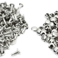 500 Silver Double Cap Rivets Two Piece Tubular Leather Craft Repair Punk Brass