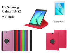 "For Samsung Galaxy Tab S2 9.7"" Screen Protector/ Rotating PU Leather Case"