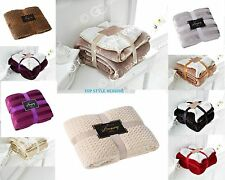 FLANNEL SHERPA THROW SUPER SOFT FLEECE BLANKET THROW SOFA BED COUCH WARM