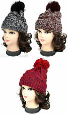 Winter Warm Men Womens Two Tone Beanie Cable Knit POM POM Crochet Beanie hat