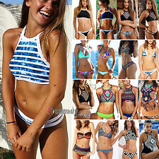 Womens High Neck Padded Bra Beachwear Bikini Set Swimsuit Swimwear Top Bathing