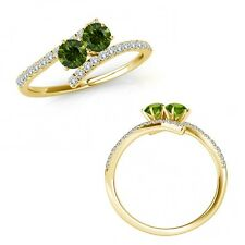 1 Carat Green Diamond Two Stone By Pass Eternity Engagement Ring 14K Yellow Gold