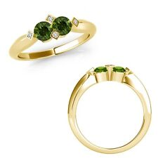1 Carat Green Diamond Two Stone Fancy Solitaire Wedding Ring 14K Yellow Gold