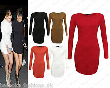 Ladies Women's Long Sleeve Crew Neck Bodycon Short Mini Curve Hem Tunic Dress