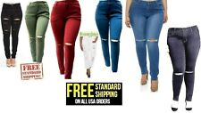 HW WOMENS PLUS SIZE Distressed Knee Hole Ripped Stretch JEANS SKINNY TWILL PANTS