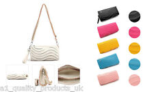 New - Ladies Clutch Bags 2 Straps, Wave Design, BNIB, Wedding Party bag purse