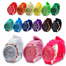Unisex Geneva Women Ladies Soft Jelly Silicone Band Quartz Sports Wrist Watch