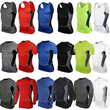 Mens Body Armour Compression Base Layer Tight Tank Tops Skins T-Shirt Gym Wear