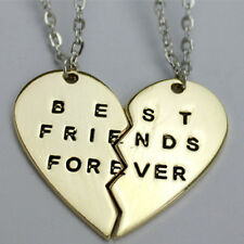 2 Gold Silver Best Friends Forever Broken Heart Pendant BFF Chain Necklaces Gift