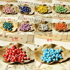 50Pcs 6mm Wholesale Round Solid Color Porcelain Ceramic Beads Loose Spacer Beads