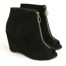 Womens peep toe front zip closure black synthetic suede wedge heels ankle boots
