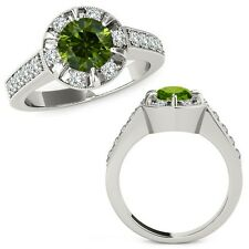 1.75 Carat Green Round Diamond  Solitaire Halo Engagement Ring 14K White Gold