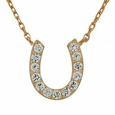 925 Sterling Silver White CZ Horseshoe Pendant Necklace with Chain