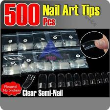 500X New Natural Clear UV Acrylic Full Semi French False Nail Tips Sizes Art Gel