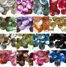 50pcs Wholesale  Mussel Shell Flat Round Coin Charm Beads 18mm U Pick Color
