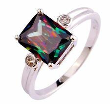 18K W GOLD EP 1.5CT MYSTIC RAINBOW TOPAZ EMERALD CUT RING size 6 - 10 u choose