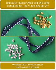 Necklace Findings 100 Silver/Gold Plated Coil End Cord Crimp Connectors 5mm