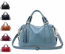Fashion Solid Leather Satchel Totes Women Shoulder Crossbody Boston Bags