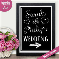 PERSONALISED Direction Chalkboard WEDDING SIGN Arrow Direction Wedding Sign