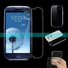 Tempered Glass Screen Protector + Back Soft Gel Case For Samsung Galaxy S3 i9300