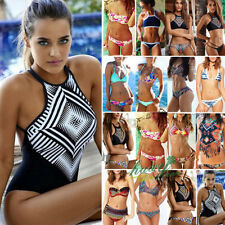 Womens High Neck Push Up Bra Beachwear Bikini Set Swimsuit Swimwear Top Bathing
